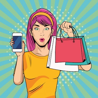 Ragazza con borse della spesa e smartphone in stile pop art