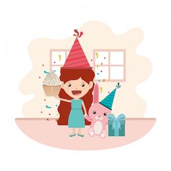 Ragazza con coniglietto in festa di compleanno