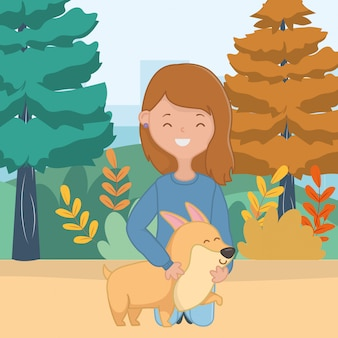 Ragazza con design di cane cartone animato