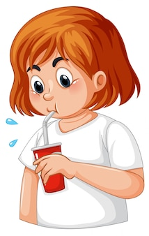 Ragazza con diabete assetato
