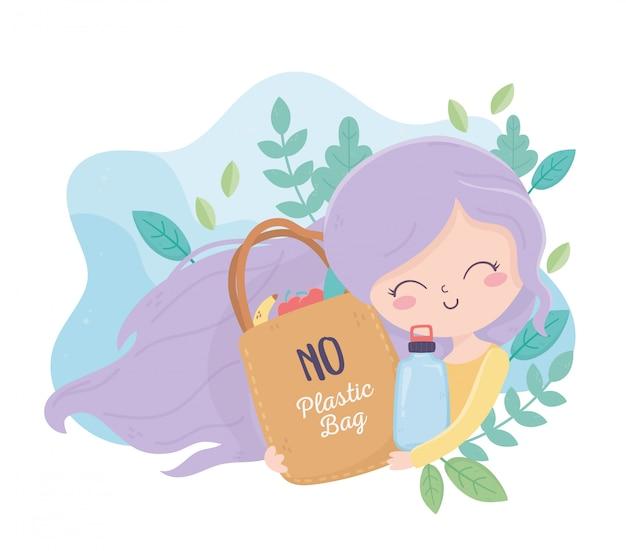 Ragazza con ecologia dell'ambiente delle piante di bottiglia del sacchetto della spesa