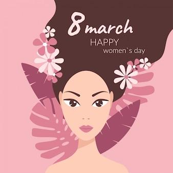 Ragazza con foglie e fiori tropicali tra i capelli su rosa, 8 marzo auguri