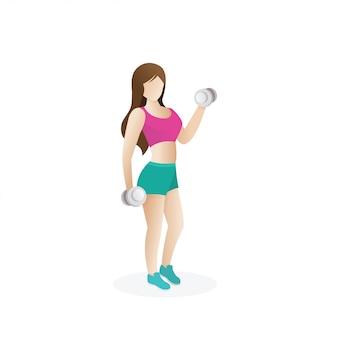Ragazza con i capelli lunghi fa sport un esercizio dinamico