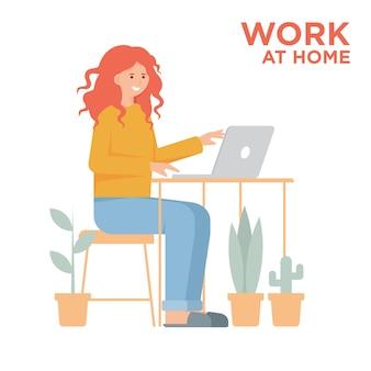 Ragazza con il computer portatile che lavora dall'illustrazione domestica