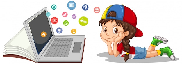 Ragazza con il computer portatile e l'icona di istruzione isolata