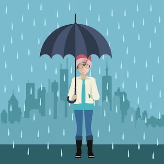 Ragazza con l'ombrello