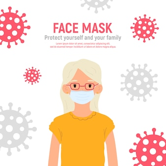 Ragazza con mascherina medica sul viso per proteggerla dal coronavirus covid-19, 2019-ncov isolato su sfondo bianco. concetto di protezione antivirus per bambini. rimanga sicuro. illustrazione