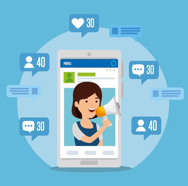 Ragazza con smartphone e profilo con bolle di chat
