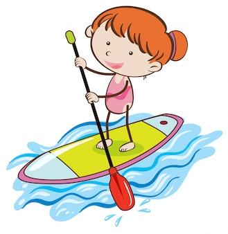 Ragazza con stand up paddle board