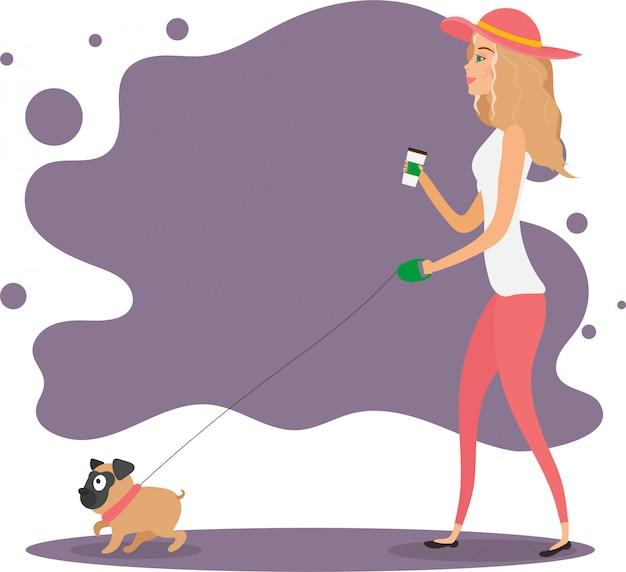 Ragazza con un cane. la ragazza con il cappello cammina con un carlino. illustrazione