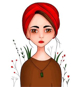 Ragazza con un copricapo sulla testa sciarpa o turbante