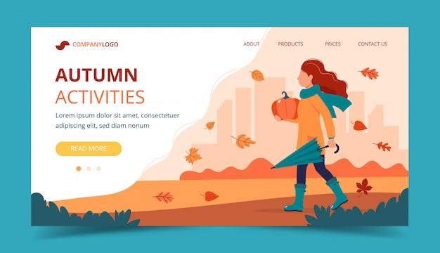 Ragazza con una zucca in autunno. modello di pagina di destinazione.