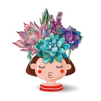 Ragazza con vaso di fiori con un mazzo di piante grasse.