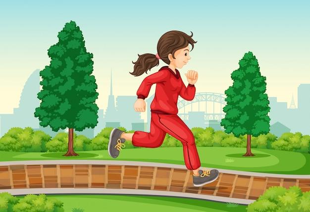 Ragazza, correndo, parco