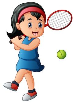 Ragazza dei cartoni animati, giocare a tennis