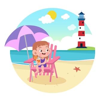 Ragazza del bambino che gioca sull'illustrazione della spiaggia