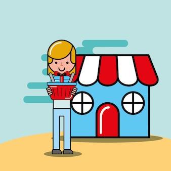 Ragazza del cliente con il mercato del regalo del cestino della spesa logistico e consegna