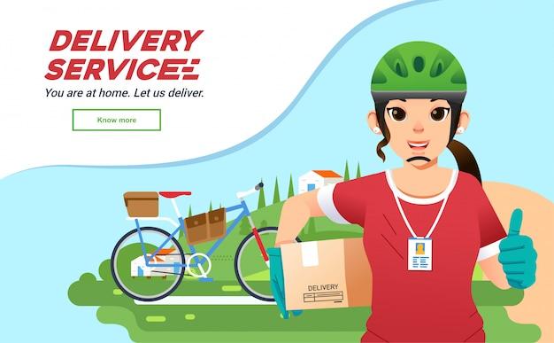 Ragazza del corriere di servizio di deliverry che trasmette pacchetto con la bicicletta, mascotte dell'azienda deliverry delle donne con paesaggio come priorità bassa