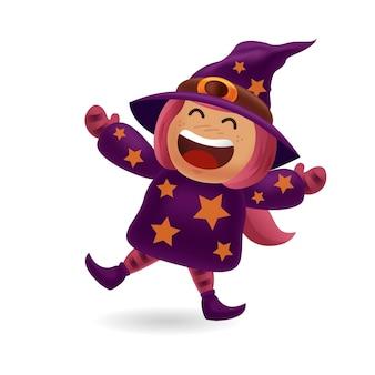 Ragazza del costume_cute del mostro e del fantasma di halloween con il costume della strega che balla con il fondo isolato