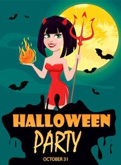 Ragazza del diavolo per invito a una festa di halloween