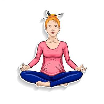 Ragazza del fumetto che meditating nella posa del loto