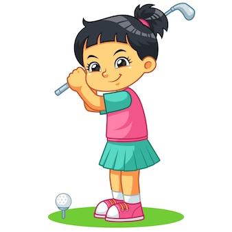 Ragazza del giocatore di golf pronta a sparare.