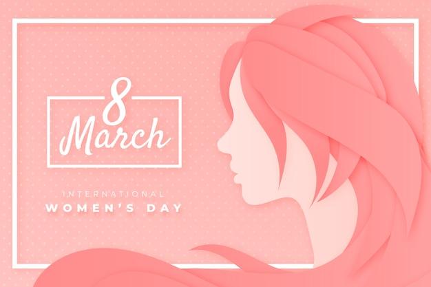 Ragazza del giorno delle donne in stile carta