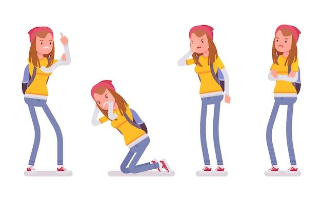 Ragazza dell'adolescente che mostra le emozioni negative