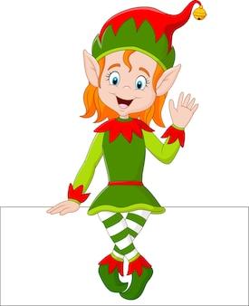 Ragazza dell'elfo del fumetto che si siede sul segno in bianco