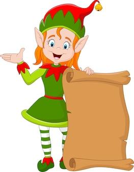 Ragazza dell'elfo di natale del fumetto che tiene vecchio rotolo di carta