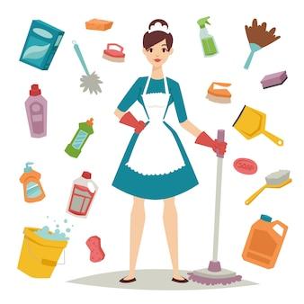 Ragazza della casalinga ed icona domestica delle attrezzature per la pulizia nell'illustrazione piana di stile.