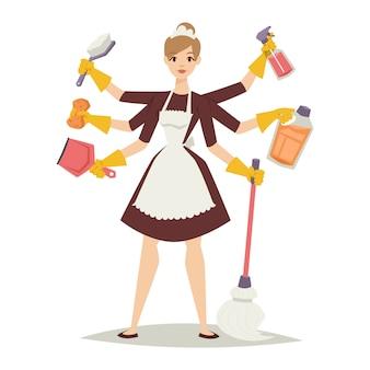Ragazza della casalinga ed icona domestica delle attrezzature per la pulizia nell'illustrazione piana di vettore di stile.