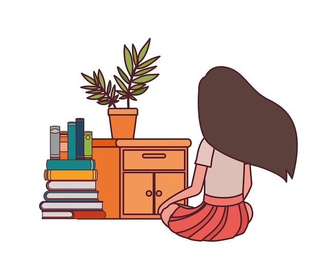 Ragazza dello studente che si siede sulla sua parte posteriore con la pila di libri
