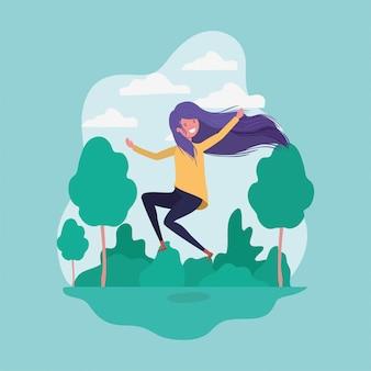 Ragazza di avatar che salta nel parco