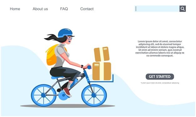 Ragazza di bellezza che guida il servizio di distribuzione delle scatole di trasporto della bicicletta blu.