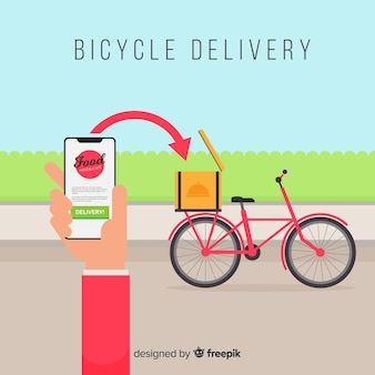 Ragazza di consegna piatta sulla priorità bassa della bici