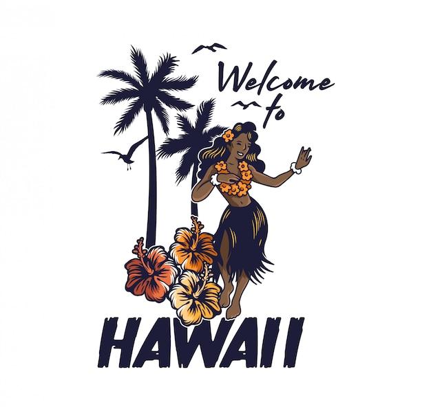 Ragazza di hula hawaiana di giovane sorriso sveglio che balla sulla festa di luau aloha della spiaggia. in gonna lei ed erba