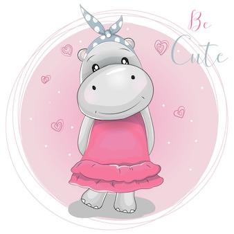 Ragazza di ippopotamo simpatico cartone animato su uno sfondo rosa