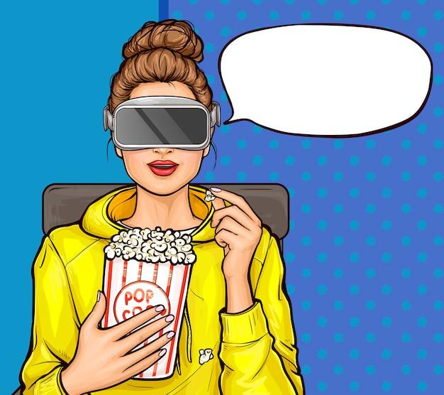 Ragazza di pop art in vetri di realtà virtuale che guardano film