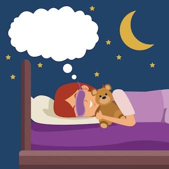 Ragazza di scena colorata con maschera di sonno sognando a letto di notte abbracciato un orsacchiotto