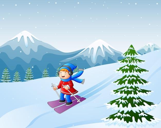 Ragazza di sci del fumetto sulla collina nevosa