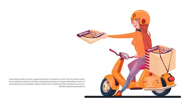 Ragazza di servizio di consegna della pizza che guida il motorino elettrico che spedisce alimento dall'insegna del ristorante con