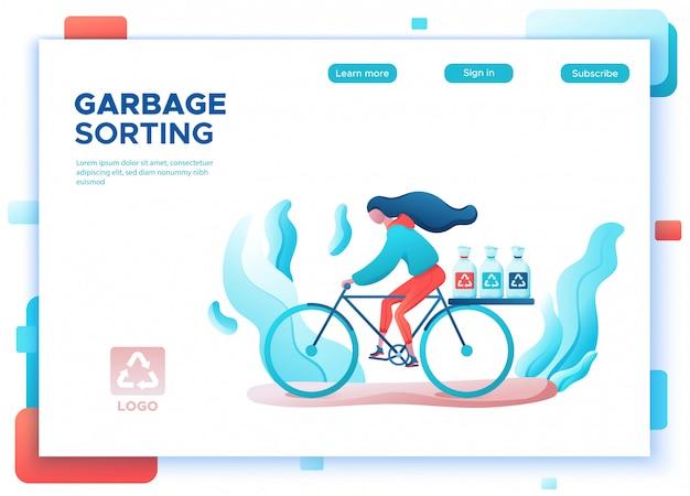 Ragazza di smistamento dei rifiuti che trasporta i sacchi della spazzatura per il riciclaggio della pagina di destinazione