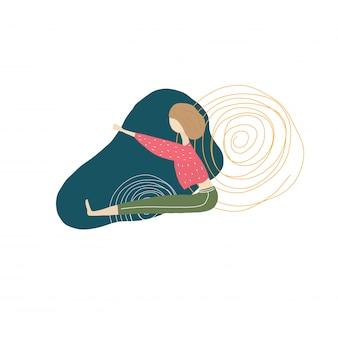 Ragazza di yoga e forme geometriche
