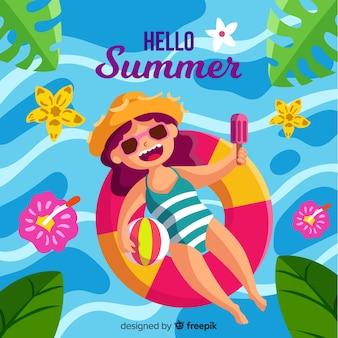 Ragazza disegnata a mano che galleggia sul fondo di estate della piscina