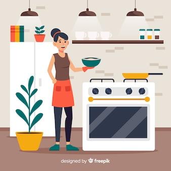 Ragazza disegnata a mano cucina sfondo