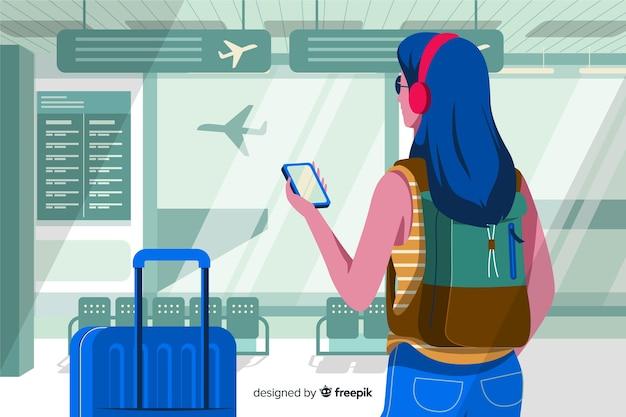 Ragazza disegnata a mano in aeroporto