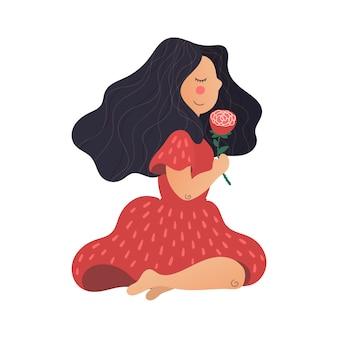 Ragazza disegnata a mano piatta di vettore con un fiore in mano.