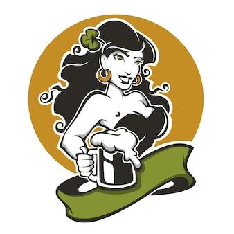 Ragazza e birra, emblema per il tuo design del giorno di san patrizio