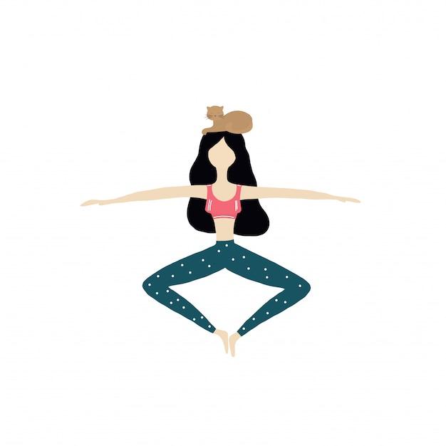 Ragazza e gatto di yoga